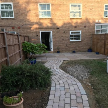Cobble path and mixed Raj cobble and paving - June 2019