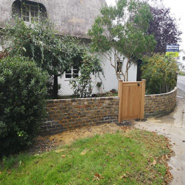 Listed walling and oak gate replacement after car accident