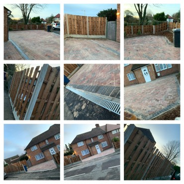 71m2 brindle red driveway. 36m bespoke fencing, topsoil, membrane, bark and gravel.