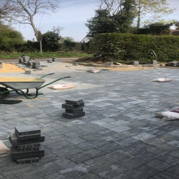 Tegula pennant grey driveway - April 2019 with custom tegula edgings